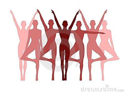 Yoga Fitness Row Of Women In Pink Royalty Free Stock Images - Image: 4504489