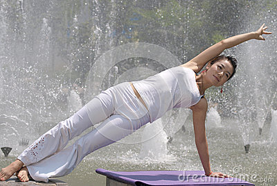 Yoga at the fountain