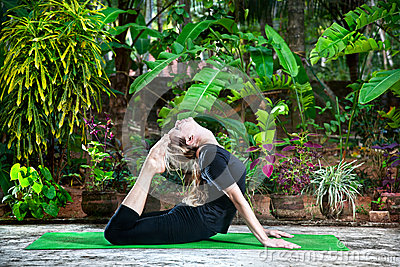 yoga in the garden royalty free stock photography  image