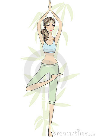 Yoga girl with bamboo tree