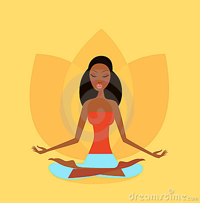 Yoga girl in lotus flower position