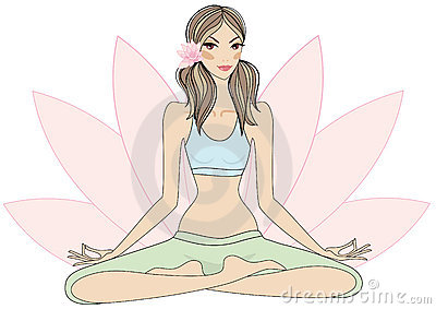 Yoga girl in lotus pose