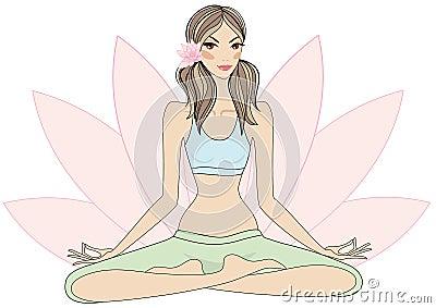 Yoga girl in lotus pose