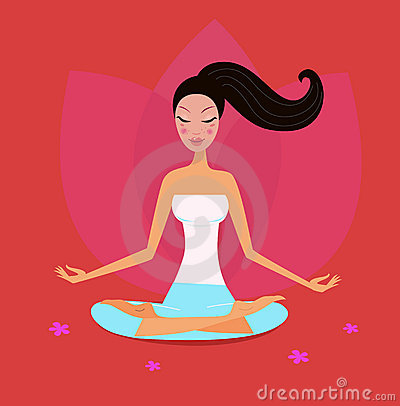 Yoga girl in lotus position isolated on red