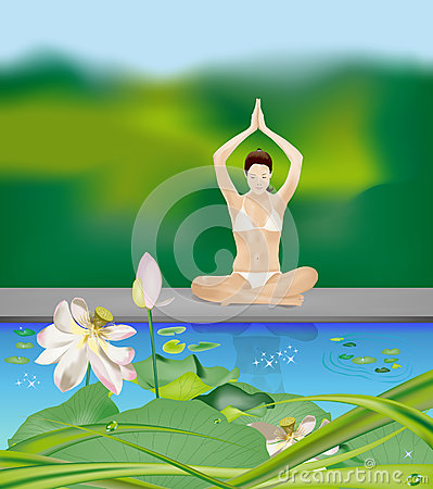 Yoga girl by the pond
