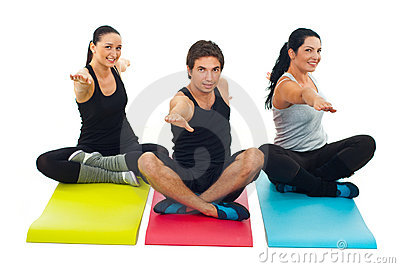 Yoga  group of three people