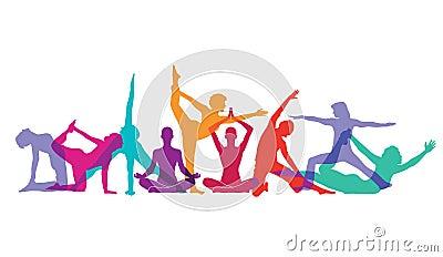 Yoga and gymnastic poses Vector Illustration