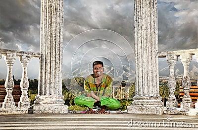 Yoga hand stand lotus pose