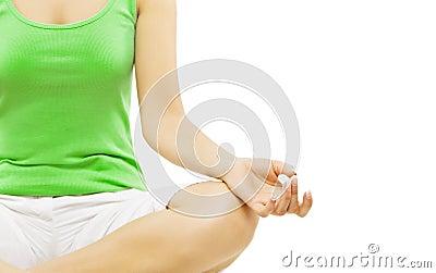 yoga hand woman meditation sitting in lotus pose stock