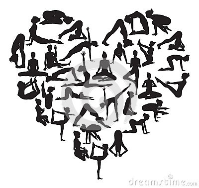 Yoga heart Vector Illustration