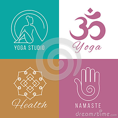 Yoga logo set. Floral and nature harmony, zen health vector symbols Vector Illustration