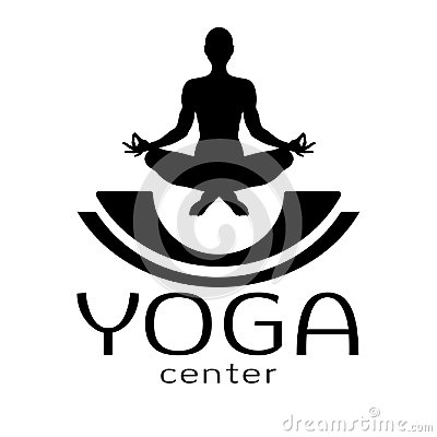 Free Yoga Logo, Vector Icon, Emblem For Yoga Center. Figure Of A Man Sitting In A Lotus Pose, Vector Silhouette. Meditation Royalty Free Stock Photos - 107676328