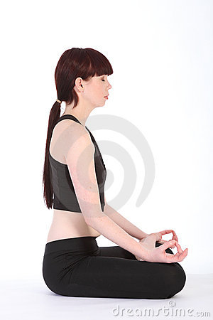 Yoga lotus pose padmasana healthy fitness girl
