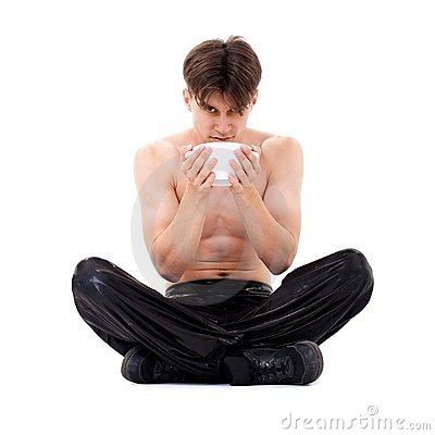 Yoga man with cup