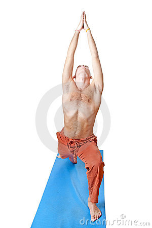 Yoga. Man in virabhadrasana position