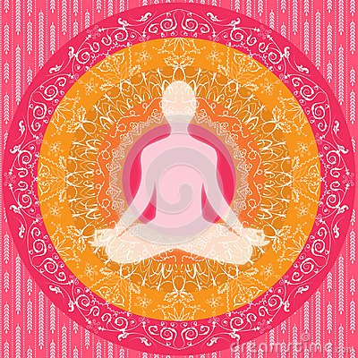 Free Yoga Mandala Sitting Pose Human Silhouette Pink White Orange Stock Image - 100937711