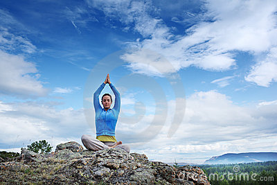 Yoga On Mauntain Stock Photos - Image: 20295423