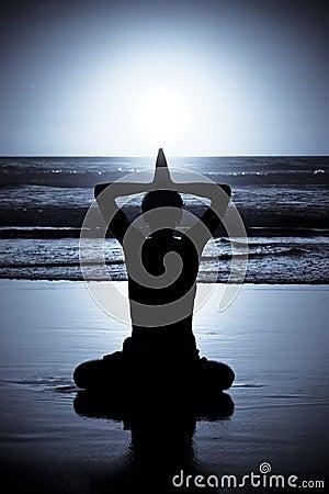 Free Yoga Meditation At Night Royalty Free Stock Photography - 5054457