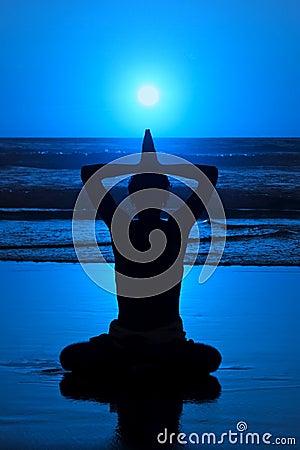 Free Yoga Meditation At Night Royalty Free Stock Photo - 5054505