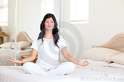 Yoga meditation on bed