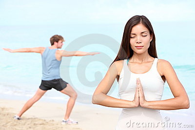 Yoga meditation couple