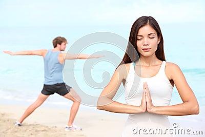 Yoga meditation couple