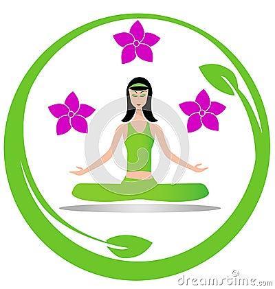 Yoga meditation girl logo