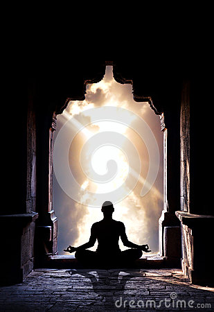 Free Yoga Meditation In Temple Stock Photography - 25369502
