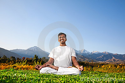 Yoga meditation in the mountains