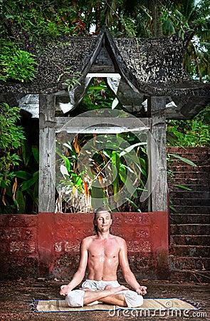 Yoga meditation near the temple