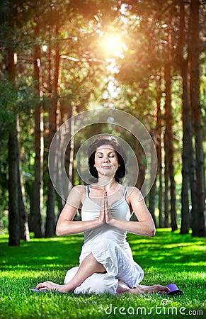 Yoga meditation in park