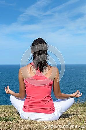 Yoga meditation and sea