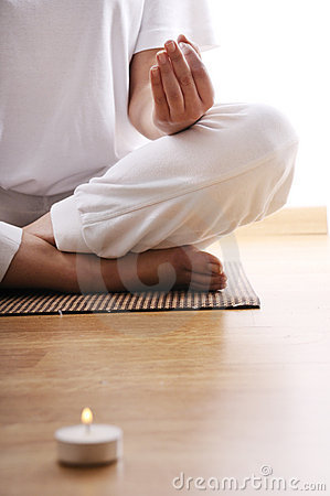 Yoga and meditation of young woman