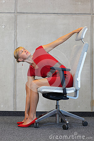 Free Yoga - Office Occupational Disease Prevention Royalty Free Stock Photo - 46505235