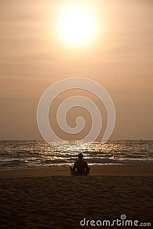 Free Yoga On Sunset Stock Image - 13485341