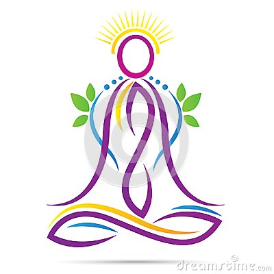 Yoga outline lotus position wellness healthy life logo Vector Illustration