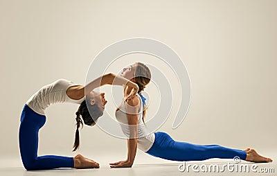 Yoga In Pair. Floor Stock Photo - Image: 60956728
