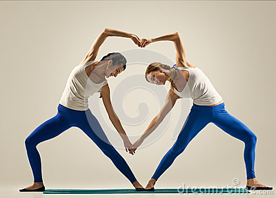 yoga in pair heart stock photo  image 61785646