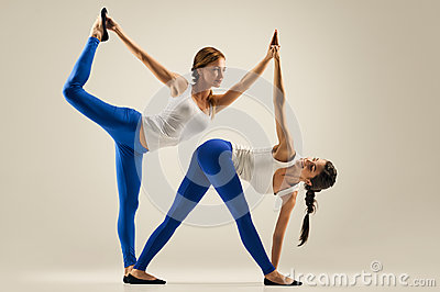 Yoga In Pair. Partner Twist Stock Photo - Image: 60278341