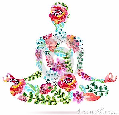 Free Yoga Pose, Watercolor Bright Floral Illustration Stock Photo - 46683010