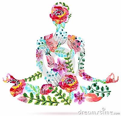 yoga pose watercolor bright floral illustration stock