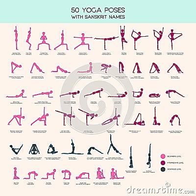 yoga poses stick figure set stock vector  image 74189875