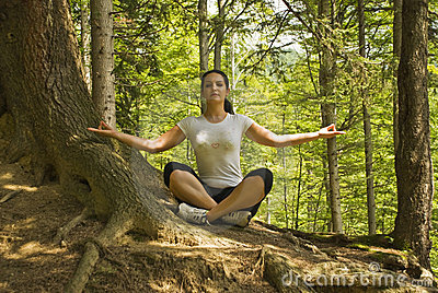 Yoga position in nature