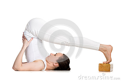 yoga with props plough pose stock photo  image 57184515