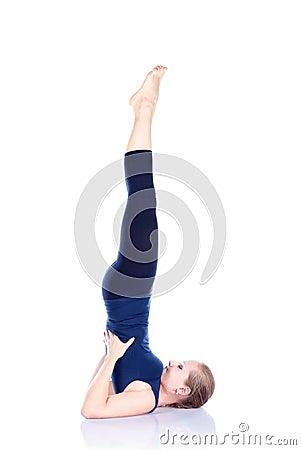 Yoga sarvangasana shoulder stand pose