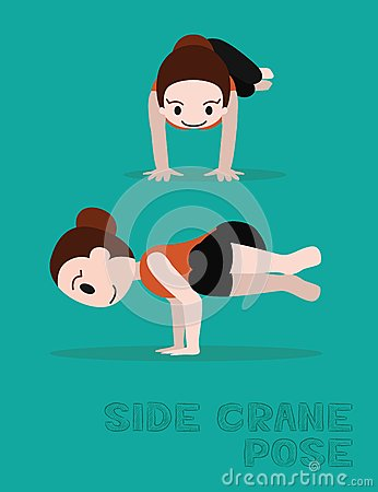 Free Yoga Side Crane Pose Cartoon Vector Illustration Royalty Free Stock Photos - 71744498
