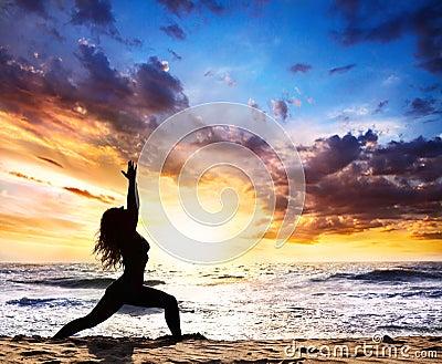 Yoga silhouette warrior pose