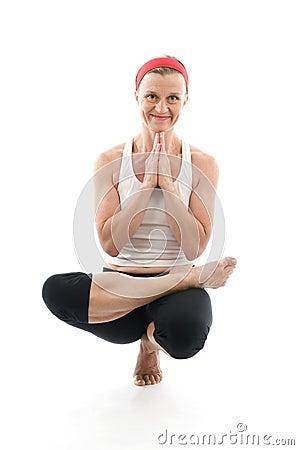 Yoga sitting tree pose fitness trainer teacher