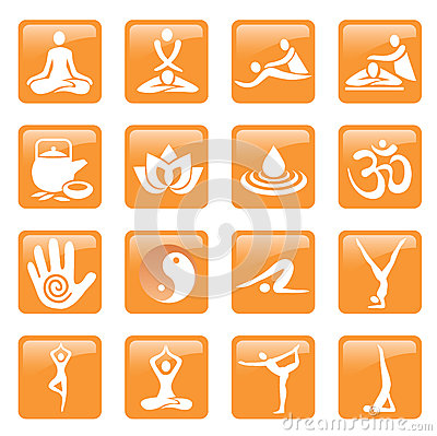 Yoga spa massage buttons icons