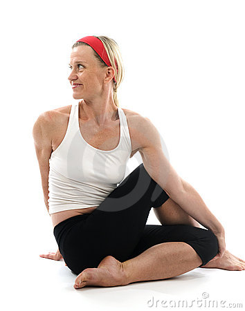 Yoga spine twisting  pose fitness trainer